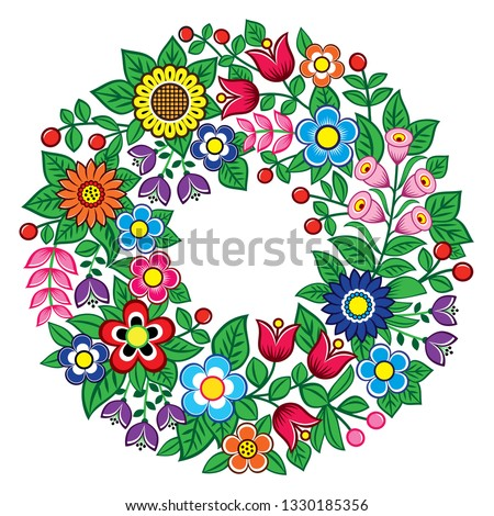 Polish folk art vector floral wreath design - Zalipie decorative pattern with flowers and leaves  Stock photo © RedKoala