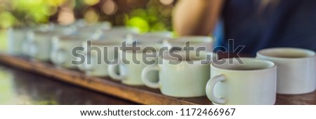 Tasting various types of coffee and tea, including coffee Luwak Stock photo © galitskaya