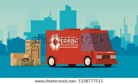 Red Delivery Truck on City Landscape Background. IsoFlat Styled Vector Illustration. Stock photo © tashatuvango