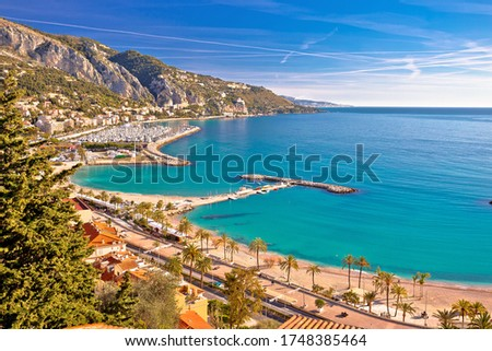 Cidade francês italiano fronteira mediterrânico costa Foto stock © xbrchx