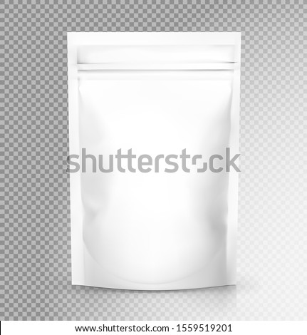 Plastic Food Bag Vector. Transparent Pillow Food Bag Wrap. Empty Product Polyethylene Mock Up Templa Stock photo © pikepicture