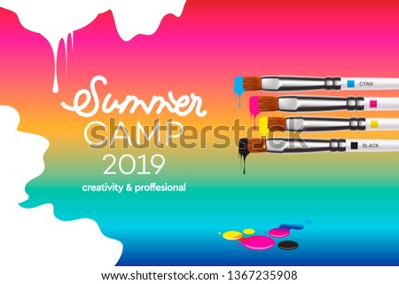 Kids Art Camp 2019, education, creativity art concept. Banner or poster with white background, hand  Stock photo © ikopylov