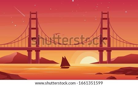 Seagulls and bridge Stock photo © Givaga