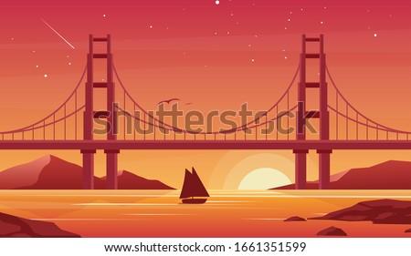 Seagulls and bridge Stock photo © Givaga
