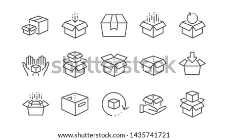 Open carton package box icon which symbolizes delivered parcel Stock photo © ussr
