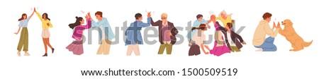 Znajomych high five odizolowany biały człowiek projektu Zdjęcia stock © kyryloff