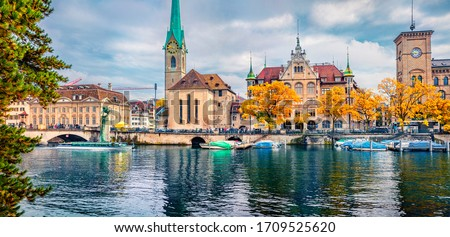 zurich cityscape switzerland   old town view city panorama wit stock photo © winner