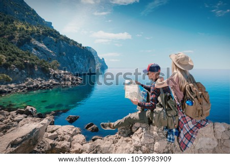 two young man traveler with backpack viewing map relaxing outdo stock photo © freedomz