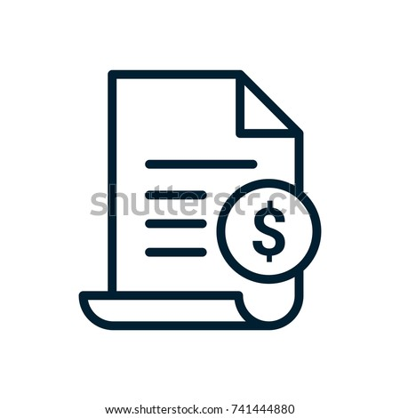 Paper receipt, bank document, payment and bill invoice icon, retail and sales concept, vector illust Stock photo © MarySan