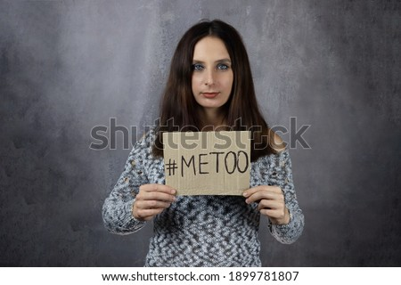 Woman Holding MeToo Hashtag Stock photo © AndreyPopov