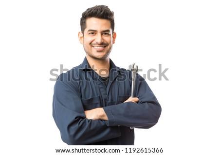 Porträt lächelnd jungen männlich halten Werkzeugkasten Stock foto © AndreyPopov