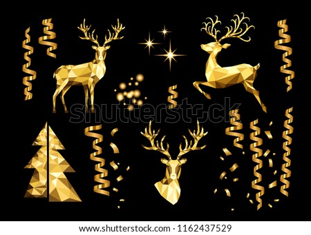 Merry Christmas greeting card with glowing low poly deer antlers and red decorative ball as a nose . Stock photo © inkoly