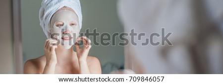 Banner jonge vrouw masker vel lang Stockfoto © galitskaya