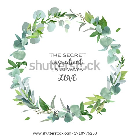 Green leaves boho card Vector watercolor. Summer round and vertical botanical greetings. Elegant bot Stock photo © frimufilms