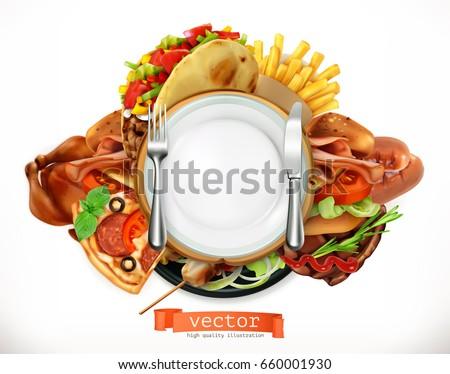 Grill kolbász üres tányér vektor valósághű Stock fotó © frimufilms