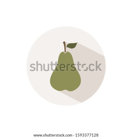 Green pear. Icon with shadow on a beige circle. Fall vector illustration Stock photo © Imaagio