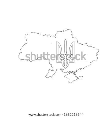 линейный карта Украина пальто оружия символ Сток-фото © kyryloff