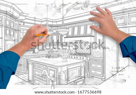 Male Hands Drawing Custom Kitchen Design Details Stock photo © feverpitch