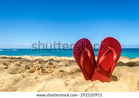 Papucs tengerpart színes áll víz tenger Stock fotó © ivonnewierink