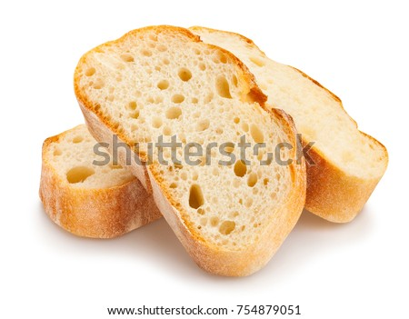 Two fresh baked bread slices isolated on white background. Stock photo © marylooo