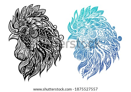 Zentangle rooster head with mandala. Hand drawn decorative vector illustration Stock photo © Natalia_1947