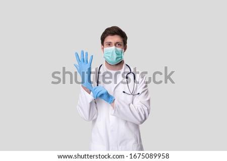Görüntü genç steril maske kauçuk tıbbi Stok fotoğraf © vkstudio