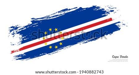 Cape Verde flag and hand on white background. Vector illustration Stock photo © butenkow