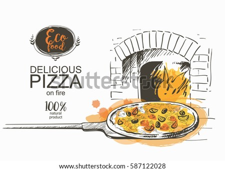 Logo of a sketched pizza. Vector illustration on white background Stock photo © butenkow
