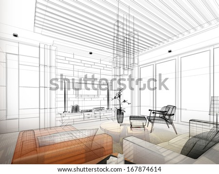 Architecture sketch of house with furniture in blueprint style Stock photo © evgeny89