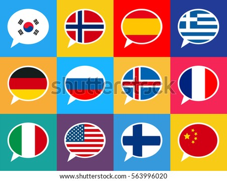 Colorful speech bubbles with flags, different language seamless pattern Stock photo © evgeny89