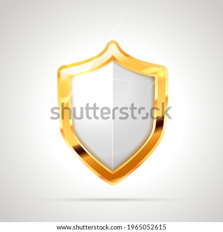 Bright metal glossy shield with white blank space on white Stock photo © evgeny89