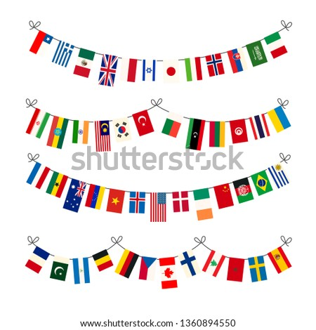 Set of garlands with true proportions flags of world sovereign states isolated on white Stock photo © evgeny89