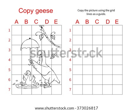 Goose. Copy the picture. Coloring book. Educational game for children Stock photo © natali_brill