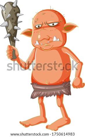 Orange goblin or troll holding hunting tool in cartoon character Stock photo © bluering