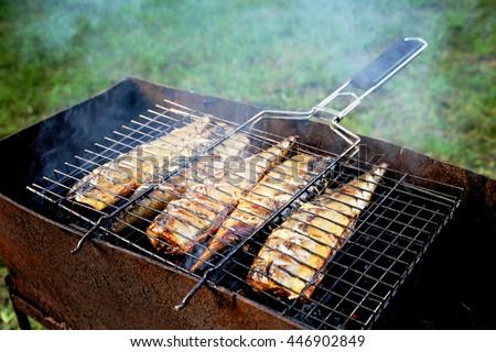 ızgara balık uskumru pişmiş ızgara açmak Stok fotoğraf © Illia