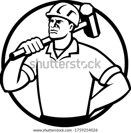 Demolição trabalhador círculo retro preto e branco mascote Foto stock © patrimonio