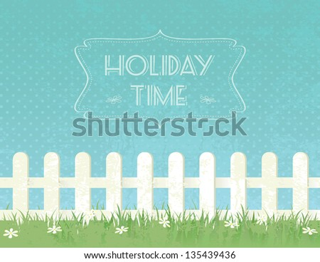 Blue sky background with decorative picket white fence and grass. Garden fencing, summer backyard Stock photo © robuart