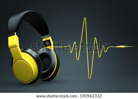 Cuffie impulso cavo bianco radio nero Foto d'archivio © goir