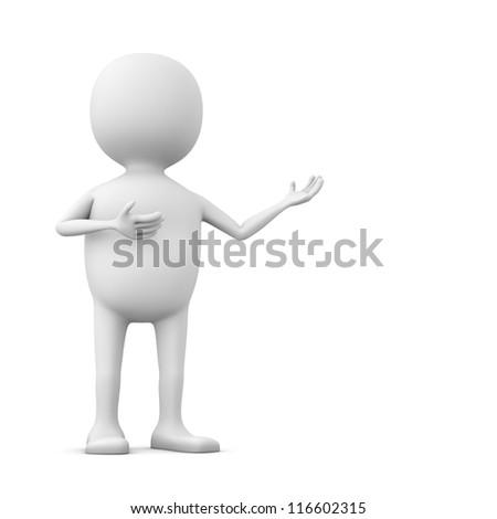 3D blanke man wijzend iets geïsoleerd witte Stockfoto © lenapix