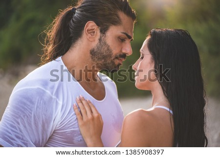 portrait of beautiful sexy woman with long wet hair in sunny day stock photo © pawelsierakowski