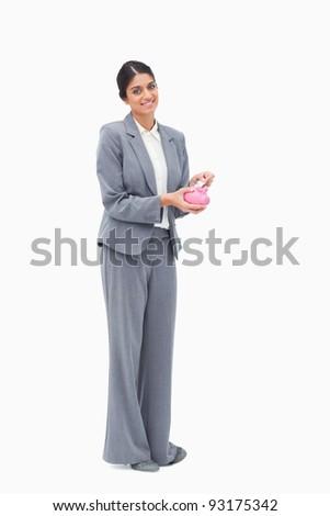 gülen · kadın · bankacı · banka · dikkat · kumbara - stok fotoğraf © wavebreak_media