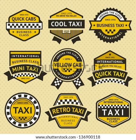 Taxi taxi establecer insignia edad estilo Foto stock © Ecelop