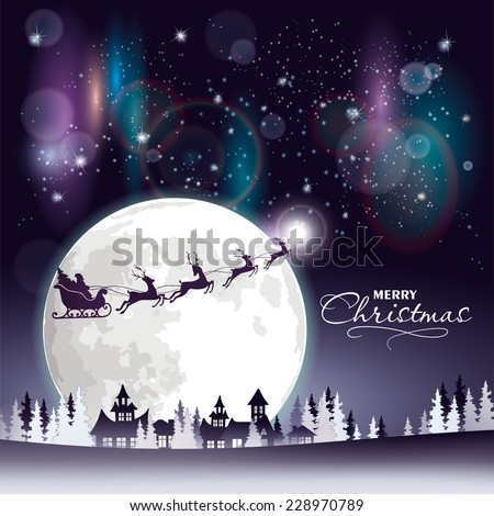 houses in a town and silhouette of reindeers over moon in sky at night stock photo © zzve
