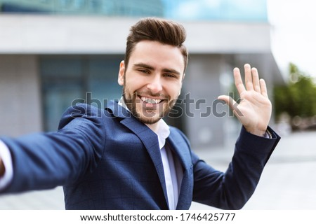 Businessman taking a selfie Stock photo © tommyandone