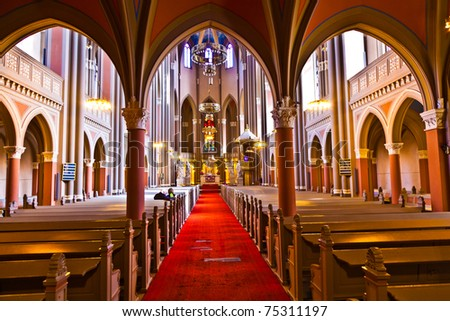 famous gothic Markt Kirche from inside Stock photo © meinzahn