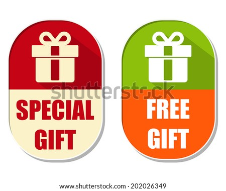 special and free gift with present box sign, two elliptical labe Stock photo © marinini