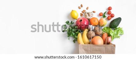 Stock fotó: Friss · gyümölcsök · fehér · fából · készült · tál · konyha
