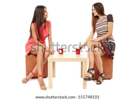 счастливым женщину таблице напиток серый Сток-фото © deandrobot