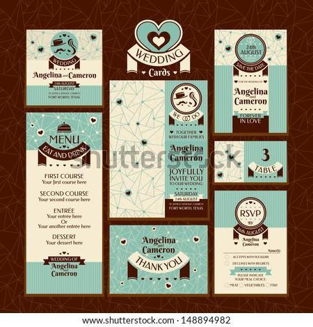 Conjunto nove vintage convite cartões elegante Foto stock © Morphart