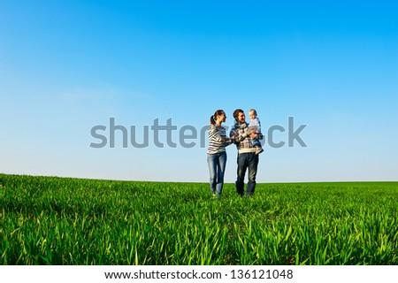 Rodziny trawy niebo chmury baby uśmiech Zdjęcia stock © Paha_L